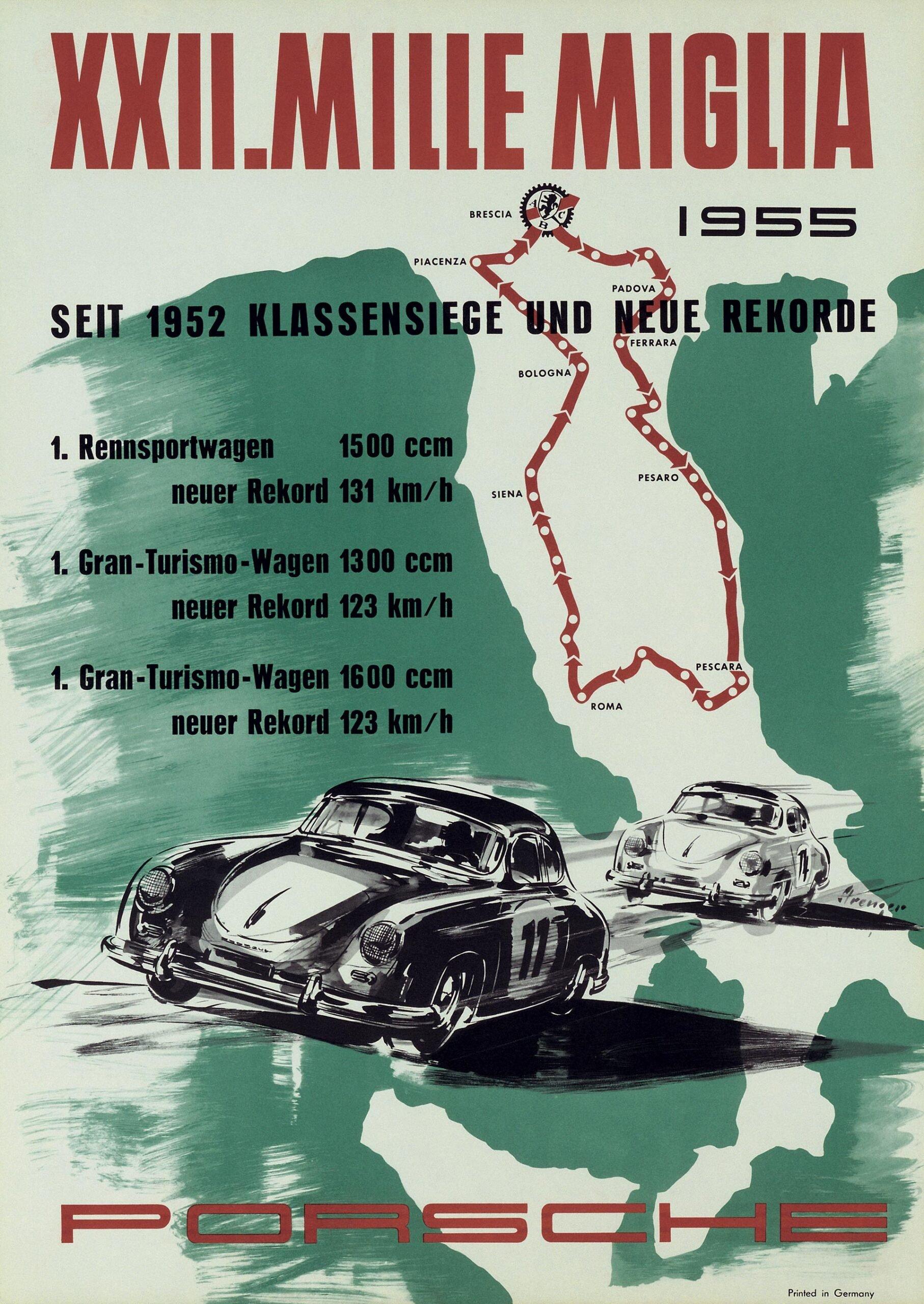 Plakat Porsche Mille Miglia 1955