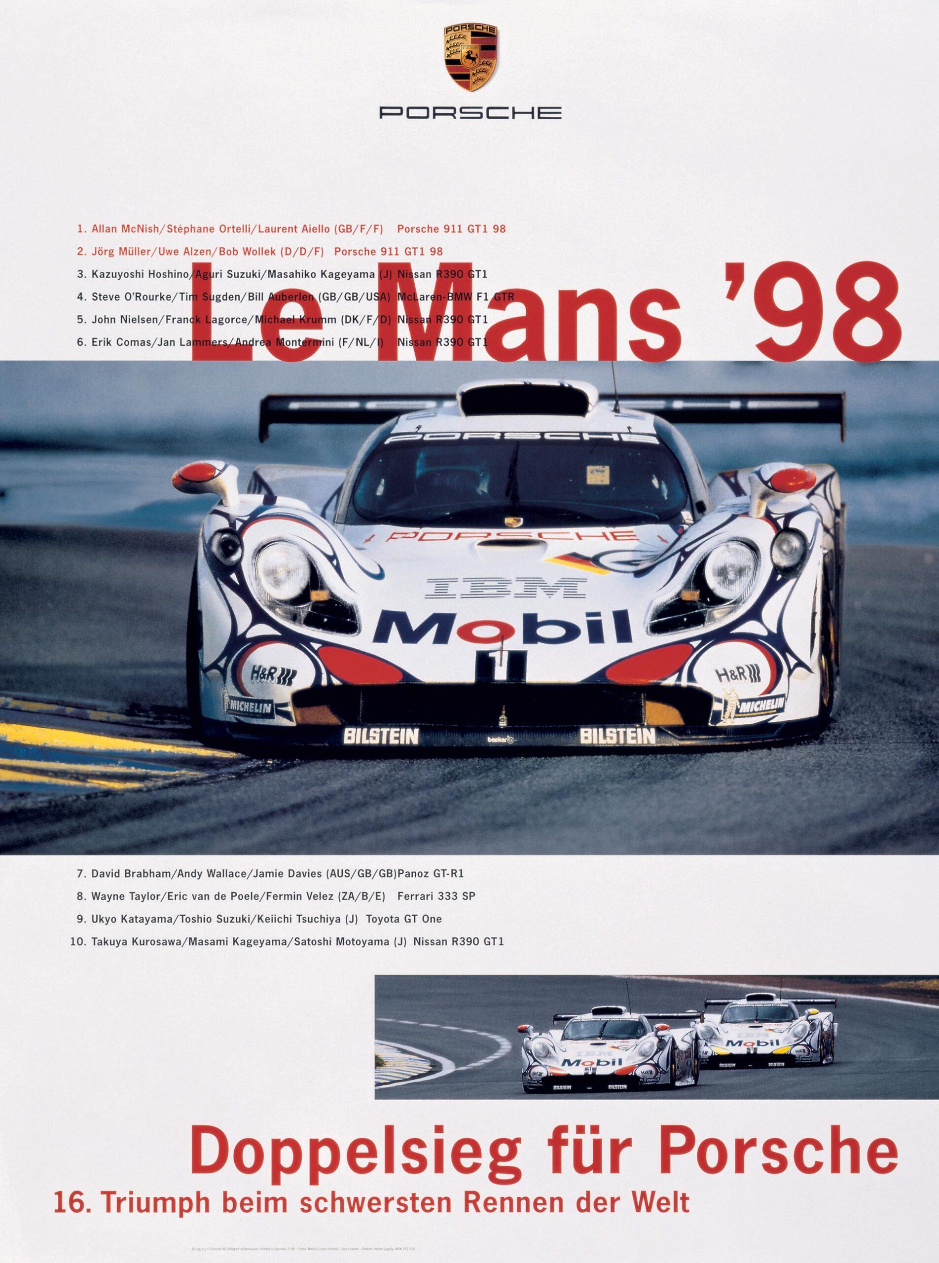 Plakat Porsche LeMans 1998