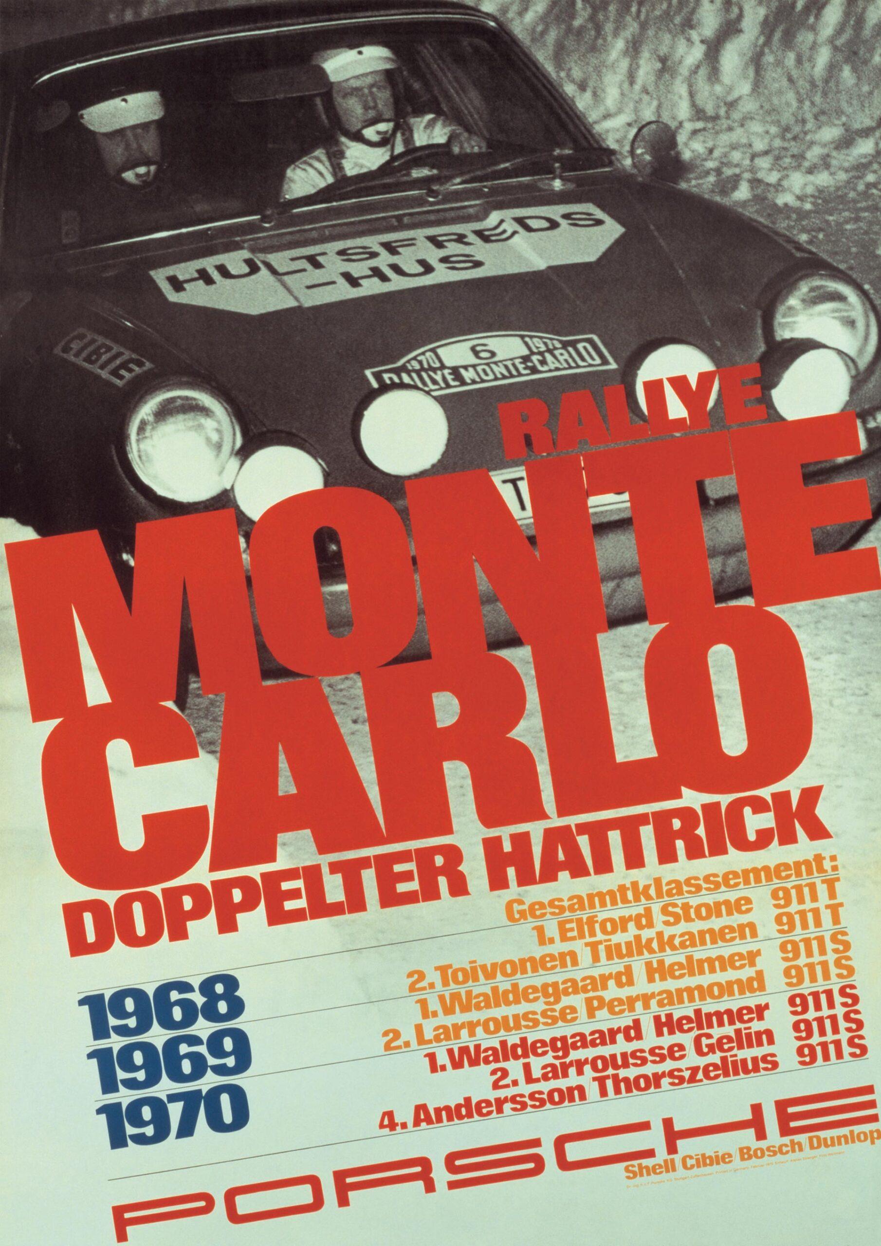 Plakat Porsche Monte Carlo Hattrick 1968-1970