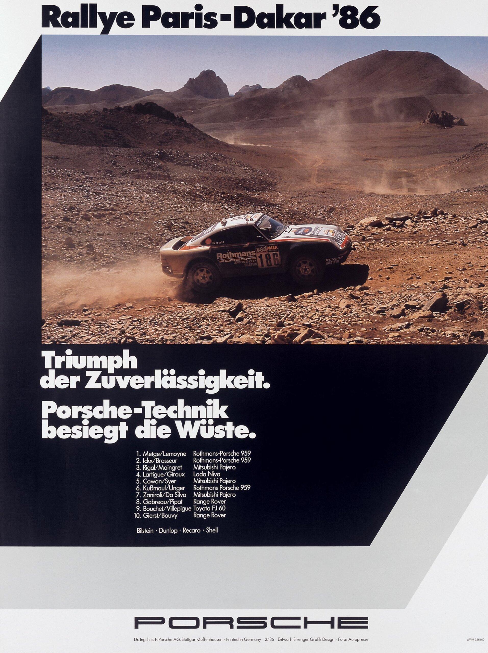 Plakat Porsche Paris-Dakar 1986