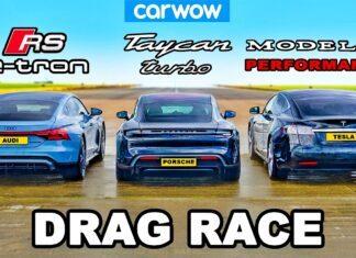 Audi RS e-tron GT kontra Porsche Taycan i Tesla Model S na 1/4 mili