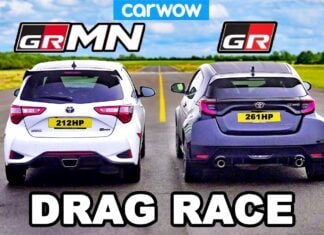 Toyota GR Yaris kontra Toyota Yaris GRMN w wyścigu na 1/4 mili
