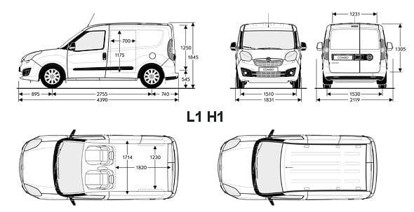 Opel Combo D wymiary paki 01