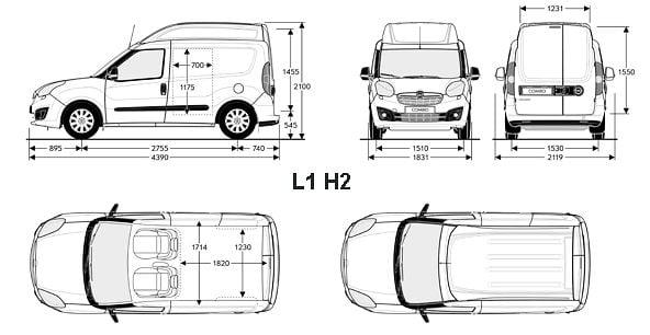 Opel Combo D - wymiary przestrzeni ładunkowej
