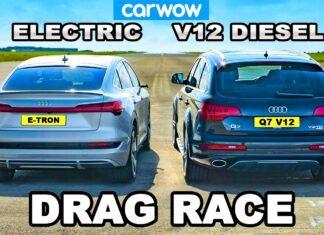 Audi Q7 V12 TDI kontra Audi e-tron Sportback na 1/4 mili