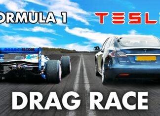 Tesla Model S kontra bolid F1 w wyścigu na 1/4 mili