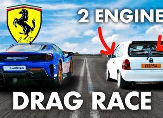 Ferrari 488 Pista kontra... Opel Corsa B w wyścigu na 1/4 mili