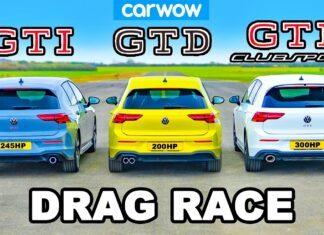 VW Golf GTI Clubsport kontra Golf GTI i Golf GTD na 1/4 mili